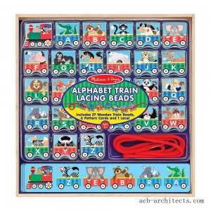 Melissa & Doug Alphabet Train Lacing Beads - 27 Wooden Train Beads, 6 Pattern Cards, and 1 Lace - Sale