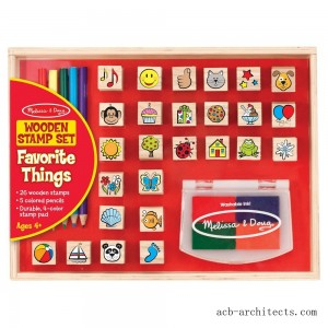 Melissa & Doug Wooden Stamp Set, Favorite Things - 26 Wooden Stamps, 4-Color Stamp Pad - Sale