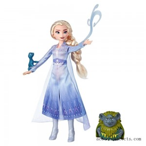 Disney Frozen 2 Elsa Fashion Doll In Travel Outfit With Pabbie and Salamander Figures - Sale