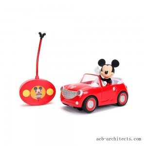 "Jada Toys Disney Junior RC Mickey Mouse Club House Roadster Remote Control Vehicle 7"" Glossy Red - Sale"