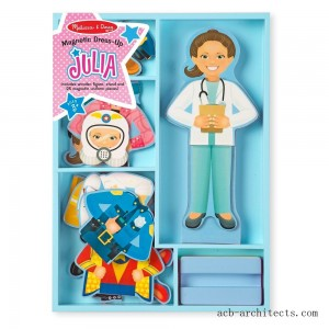 Melissa & Doug Julia Magnetic Dress-Up Wooden Doll Pretend Play Set (25+pc) - Sale