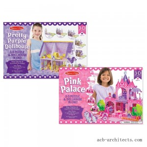 Melissa And Doug Pretty Purple Dollhouse And Pink Palace 3D Puzzle 200pc - Sale