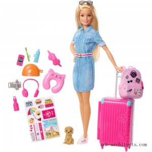 Barbie Travel Doll & Puppy Playset - Sale