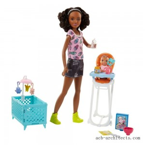 Barbie Skipper Babysitters Inc. Doll and Feeding Playset - Brunette - Sale
