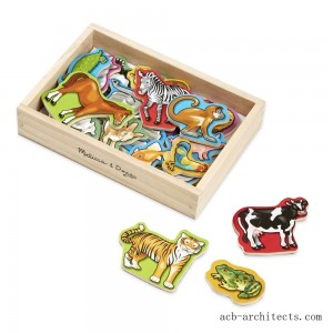 Melissa & Doug 20 Wooden Animal Magnets in a Box - Sale
