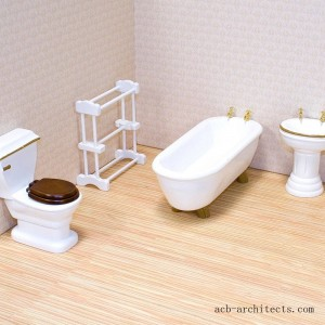 Melissa & Doug Classic Wooden Dollhouse Bathroom Furniture (4pc) - Tub, Sink, Toilet, Towel Rack - Sale