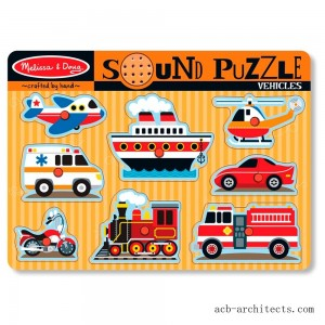 Melissa & Doug Vehicles Sound Puzzle - 8pc - Sale