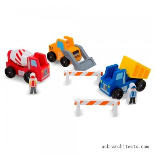 Melissa & Doug Construction Vehicle Wooden Play Set (8pc) - Sale