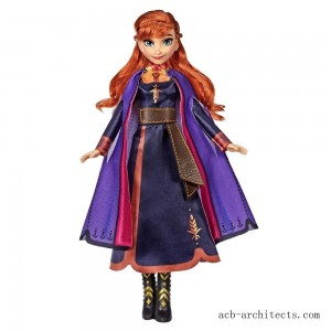 Disney Frozen 2 Singing Anna Fashion Doll with Music Wearing a Purple Dress - Sale
