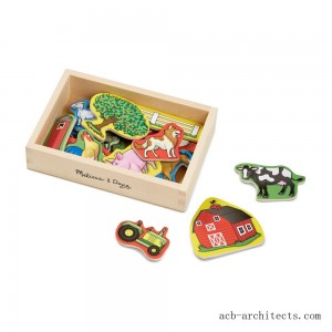 Melissa & Doug Wooden Farm Magnets with Wooden Tray - 20pc - Sale