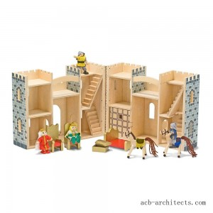Melissa & Doug Fold and Go Wooden Castle Dollhouse With Wooden Dolls and Horses (12pc) - Sale