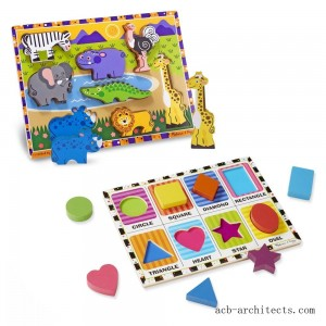 Melissa & Doug Wooden Chunky Puzzle Set - Wild Safari Animals and Shapes 16pc - Sale