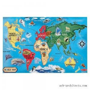 Melissa And Doug World Map Jumbo Floor Puzzle 33pc - Sale