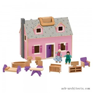 Melissa & Doug Fold and Go Wooden Dollhouse With 2 Dolls and Wooden Furniture - Sale