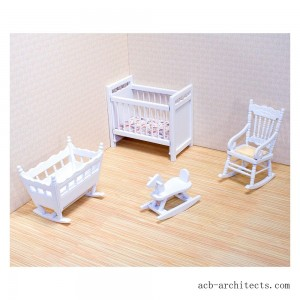 Melissa & Doug Classic Wooden Dollhouse Nursery Furniture (4pc) - Crib, Basinette, Rocker, Rocking Horse - Sale