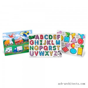Melissa & Doug Wooden Peg Puzzles Set - Alphabet, Vehicles, and Shapes 42pc - Sale