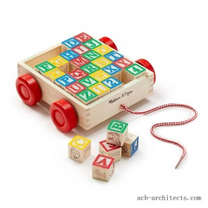 Melissa & Doug Classic ABC Wooden Block Cart Educational Toy With 30 Solid Wood Blocks - Sale
