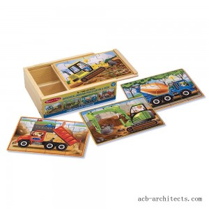 Melissa & Doug Construction Vehicles 4-in-1 Wooden Jigsaw Puzzles (48pc) - Sale