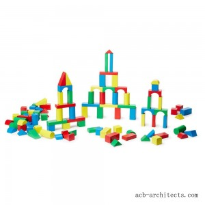 Melissa & Doug Wooden Building Block Set - 200 Blocks in 4 Colors and 9 Shapes - Sale