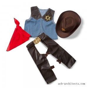 Melissa & Doug Cowboy Role Play Costume Set (5pc) - Includes Faux Leather Chaps, Adult Unisex, Blue/Gold/Red - Sale