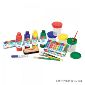Melissa & Doug Easel Accessory Set - Paint, Cups, Brushes, Chalk, Paper, Dry-Erase Marker - Sale