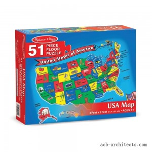 Melissa And Doug Usa Map Floor Puzzle 51pc - Sale