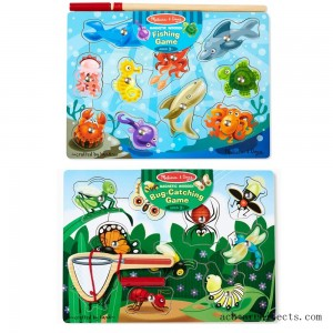 Melissa & Doug Magnetic Wooden Puzzle Game Set: Fishing and Bug Catching - Sale