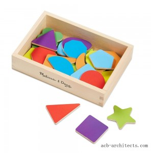 Melissa & Doug 25 Wooden Shape and Color Magnets in a Box - Sale