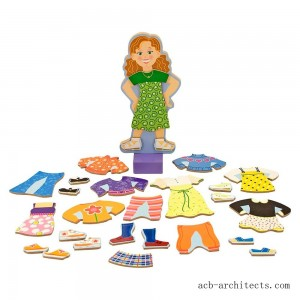 Melissa & Doug Maggie Leigh Magnetic Wooden Dress-Up Doll Pretend Play Set (25+pc) - Sale