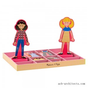 Melissa & Doug Abby and Emma Deluxe Magnetic Wooden Dress-Up Dolls Play Set (55+pc) - Sale
