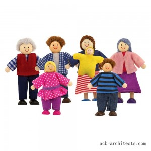 Melissa & Doug 7-Piece Poseable Wooden Doll Family for Dollhouse (2-4 inches each) - Sale