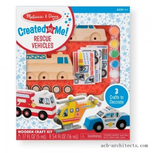 Melissa & Doug Decorate-Your-Own Wooden Rescue Vehicles Craft Kit - Police Car, Fire Truck, Helicopter - Sale