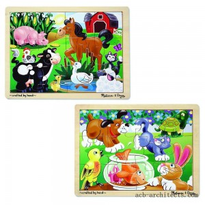 Melissa & Doug Animals Wooden Jigsaw Puzzles Set - Pets and Farm Life (24pc) - Sale