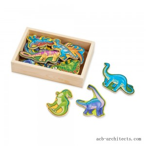 Melissa & Doug Magnetic Wooden Dinosaurs with Wooden Tray - 20pc - Sale