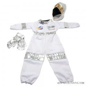 Melissa & Doug Astronaut Role Play Costume Set (5pc) - Jumpsuit, Helmet, Gloves, Name Tag, Adult Unisex, Size: Small, Red/Gold/Silver - Sale