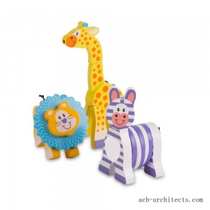 Melissa & Doug First Play Set of 3 Safari Animal Wooden Grasping Toys - Sale
