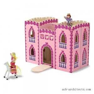 Melissa & Doug Fold and Go Wooden Princess Castle With 2 Royal Play Figures, 2 Horses, and 4pc of Furniture - Sale
