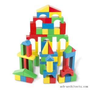 Melissa & Doug Wooden Building Blocks Set - 100 Blocks in 4 Colors and 9 Shapes - Sale