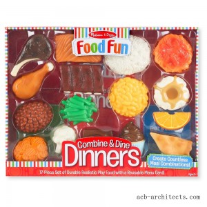 Melissa & Doug Food Fun Combine & Dine Dinners - Red - Sale