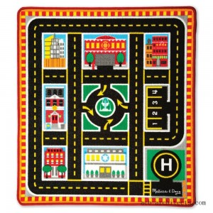 Melissa & Doug Round The City Rescue Rug With 4 Wooden Vehicles (39 x 36 inches) - Sale