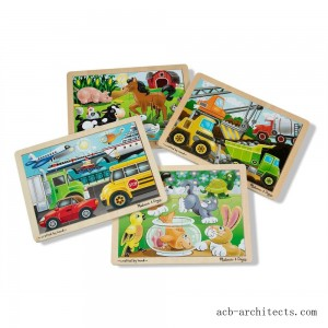 Melissa & Doug Wooden Jigsaw Puzzles Set: Vehicles, Pets, Construction, and Farm 4 puzzles 48pc - Sale
