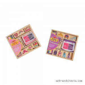 Melissa & Doug Wooden Stamps, Set of 2 - Princess and Friendship, With 18 Stamps, 10 Colored Pencils, and 2 Stamp Pads - Sale