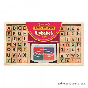 Melissa & Doug Wooden Alphabet Stamp Set - 56 Stamps With Lower-Case and Capital Letters - Sale