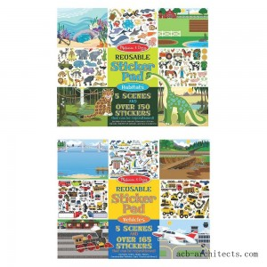 Melissa & Doug Reusable Sticker Pads Set: Vehicles and Habitats, 315+ Stickers and 10 Scenes - Sale