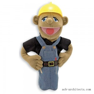 Melissa & Doug Construction Worker Puppet With Detachable Wooden Rod for Animated Gestures - Sale