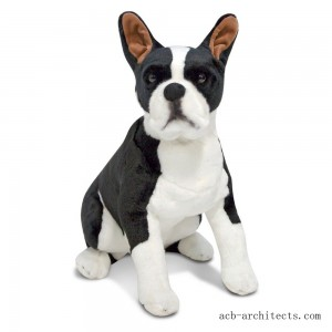 Melissa & Doug Giant Boston Terrier - Lifelike Stuffed Animal Dog - Sale
