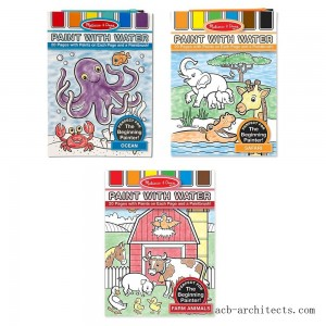 Melissa & Doug Paint With Water Activity Books Set: Farm, Ocean, Safari - Sale