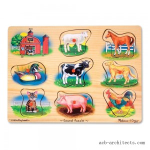 Melissa And Doug Farm Wooden Peg Sound Puzzle 8pc - Sale