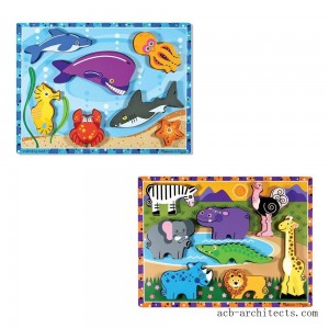 Melissa & Doug Chunky Puzzle 7pc Bundle - Safari & Sea Creatures - Sale