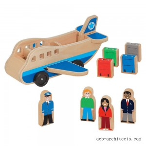 Melissa & Doug Wooden Airplane Play Set With 4 Play Figures and 4 Suitcases - Sale